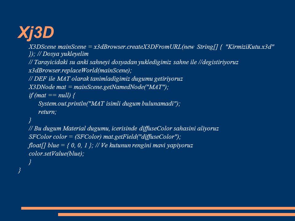 Xj3D X3DScene mainScene = x3dBrowser.createX3DFromURL(new String[] { KirmiziKutu.x3d }); // Dosya yukleyelim.